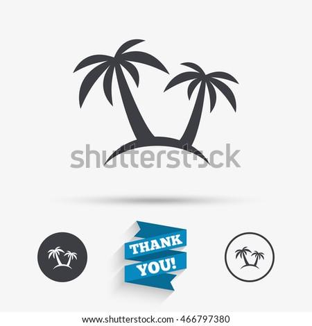Palm Tree Sign Icon Travel Trip Stock Illustration 466797380