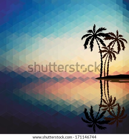 Palm trees against the evening sunset. Psychedelic geometric pattern - stock photo