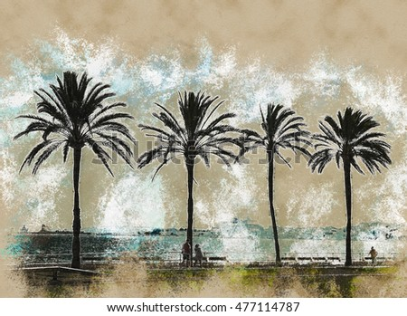 Palm trees along the coast in Palma de Mallorca at beautiful sunny day. Image of tropical vacation and sunny happiness. Serene summer photo. Modern painting, background illustration.