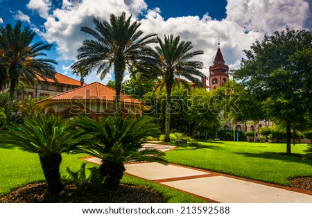 Palm trees and buildings at Flagler College, St. Augustine, Florida. - stock photo