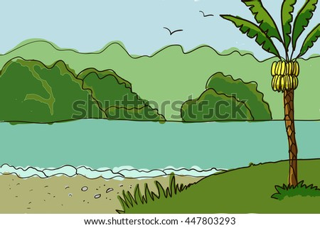 Palm trees and river illustration and drawing icon