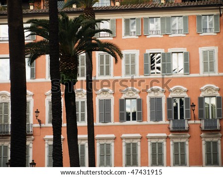 Palm trees near the Spanish staircase, Rome, Italy