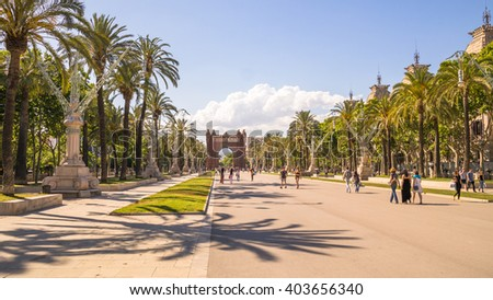Palm trees on the boulevard in Barcelona - stock photo