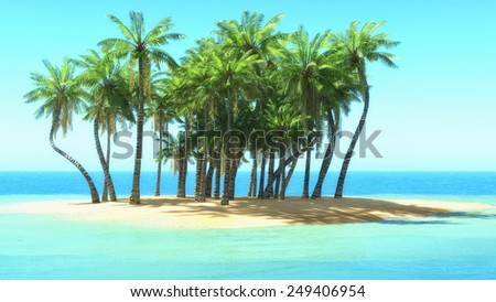 palm trees on tropical beach. 3d rendering - stock photo