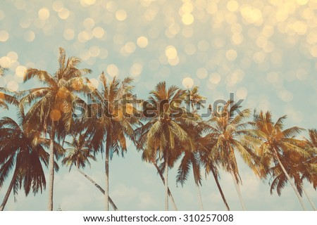 Palm trees on tropical shore with golden party glamour bokeh overlay, double exposure effect stylized - stock photo