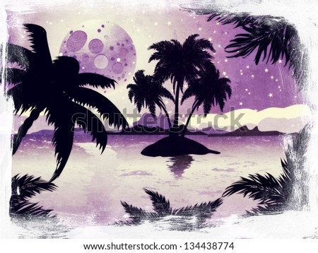 Palm trees silhouette on grunge night tropic beach background with abstract moon. - stock photo