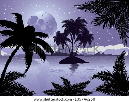 Palm trees silhouette on night tropic beach background with abstract moon. - stock photo