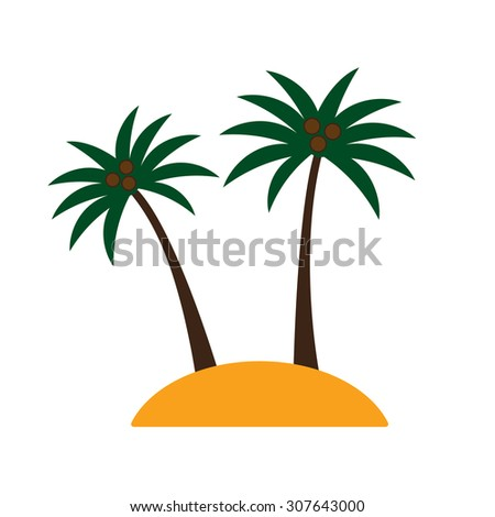 Palm trees with coconuts on island on white background. Colorful tropical landscape.