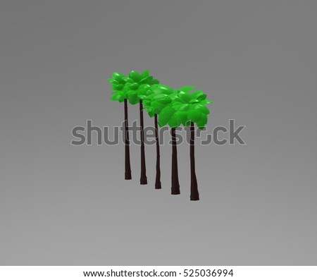 Palm washingtonia tree 3d rendering