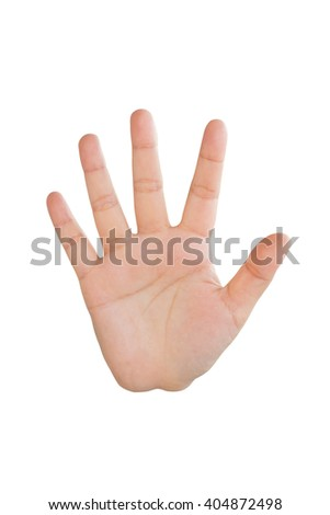 palm women, hand women, hand sign, hi five sign, greet sign, stop sign, hand up sign, the fifth sign on white background - stock photo