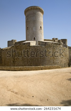 Palma, Castle de Bellver, Bellver Castle, Majorca, Spain, Europe, Balearic Islands, Mediterranean Sea, Europe - stock photo