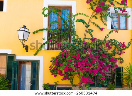 Palma de Mallorca mediterranean facades and flowers in Majorca Balearic island Spain - stock photo