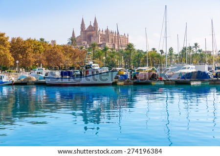 Palma de Mallorca port marina in Majorca with Cathedral church Balearic Islands - stock photo