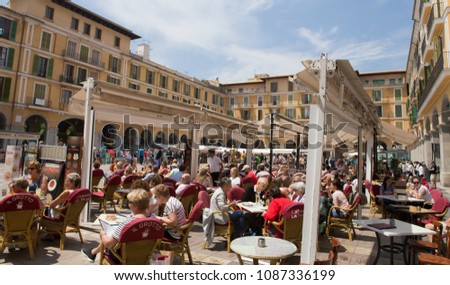 Palma De Mallorca / Spain   May 9, 2018: Crowded Terraces In Plaza Major