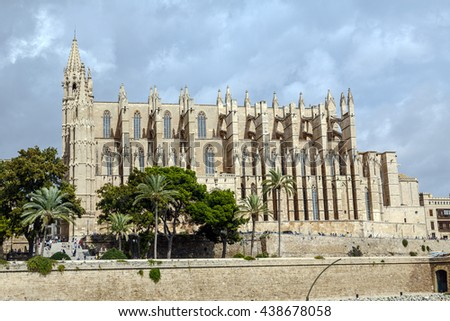 Palma de Mallorca, Spain - October 2, 2015: The Cathedral of Santa Maria of Palma, Commonly Referred to as La Seu, is a Gothic Roman Catholic cathedral located in Palma, Majorca - stock photo