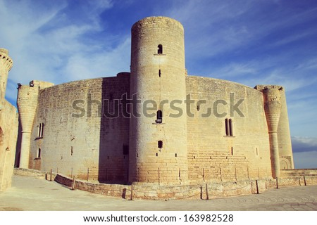 Palma de Mallorca, Spain - october 30, 2013 :  tower of Bellver Castle, a medieval castle in Palma de Mallorca, Spain. - stock photo