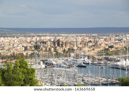 Palma, Majorca, Spain. Picture shot from bellver castel. - stock photo
