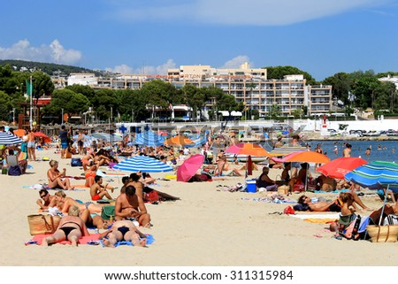 PALMA NOVA BEACH, MAJORCA, SPAIN - 24th August 2015: Palma Nova beach resort on the 24th August 2015. This is a popular and established tourist destination every summer. - stock photo