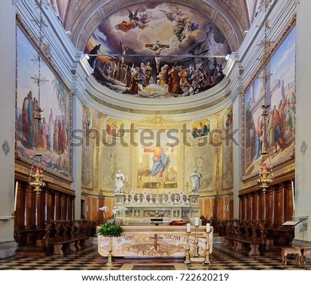 Palmanova, Italy   August, 22nd, 2017. Interiors Of Catholic Church (Chiesa