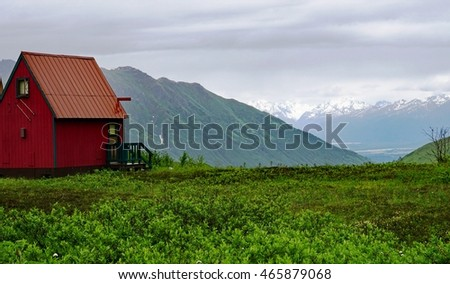 PALMER, AK -25 JUNE 2016- The Hatcher Pass Lodge is a cabin lodging located in the Talkeetna mountains near Independence Mine State Park and the Hatcher Pass Scenic Drive.
