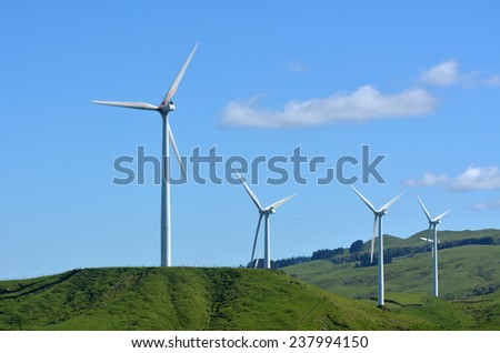 PALMERSTON NORTH, NZL - DEC 03 2014:Wind turbines in Te Apiti Wind Farm.The $100 million wind farm consists of 55 separate turbines capable of generating 1.65 MW each with a total capacity of 90.75 MW