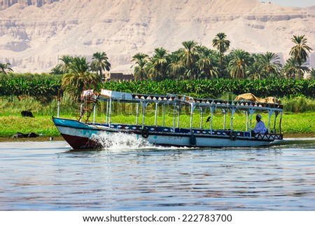Palms and dwelling houses on the banks of the Nile in Egypt - stock photo