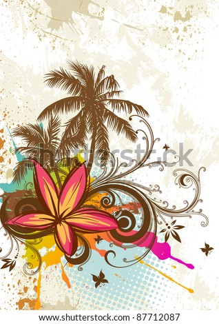 Palms and tropical flowers. Rasterized version. - stock photo