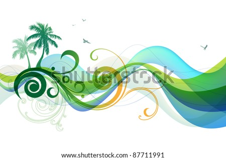 Palms and waves.  Rasterized version. - stock photo