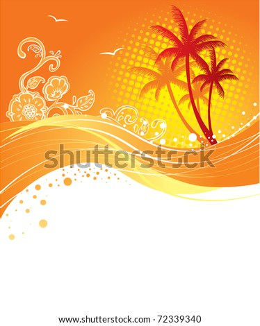 Palms banner - stock photo