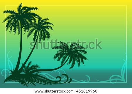 Palms, Floral Pattern and Sea Landscape