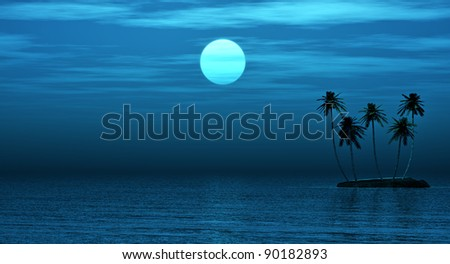 Palms island and fool moon - stock photo