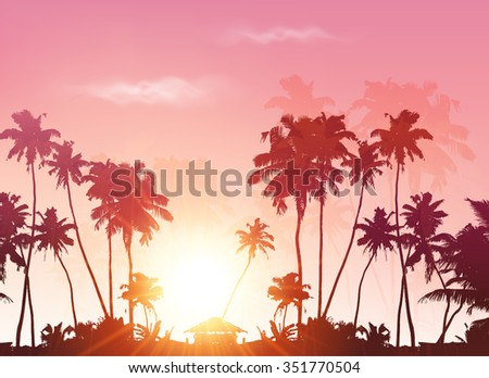 Palms silhouettes at pink sunset sky background - stock photo