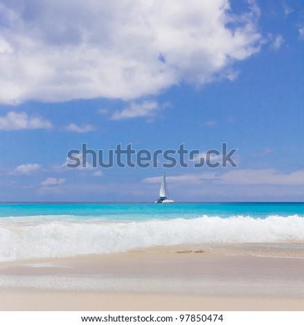 Palms Summertime Panorama - stock photo