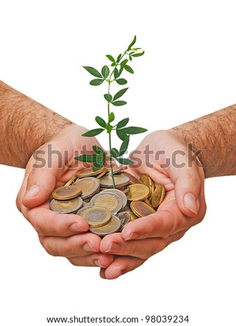 Palms with a plant growing from pile of coins