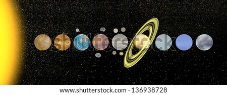 Palnets of solar system with moon and satellite in the universe - stock photo
