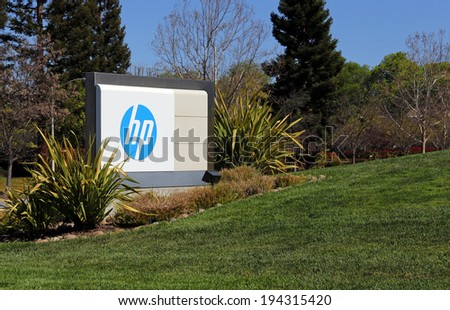 PALO ALTO, CA � MARCH 18: The HP World Headquarters located in Palo Alto, California on March 18, 2014. Hewlett-Packard is an American multinational IT corporation and computer hardware manufacturer. - stock photo