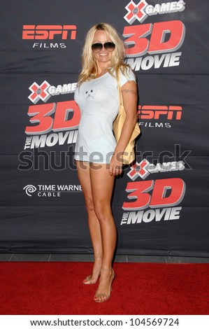 Pamela Anderson  at the Los Angeles Premiere of 'XGames 3D - The Movie'. Nokia Theatre, Los Angeles, CA. 07-30-09 - stock photo