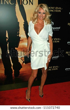 "Pamela Anderson at the World Premiere ""Resident Evil: Extinction"". Planet Hollywood Resort and Casino, Las Vegas, NV. 09-20-07"