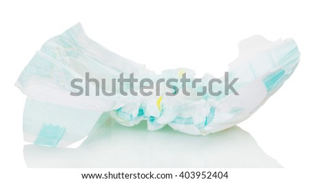 Pampers Baby close-up isolated on white background.