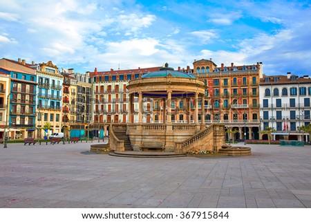 Pamplona Navarra in Spain plaza del Castillo square downtown - stock photo