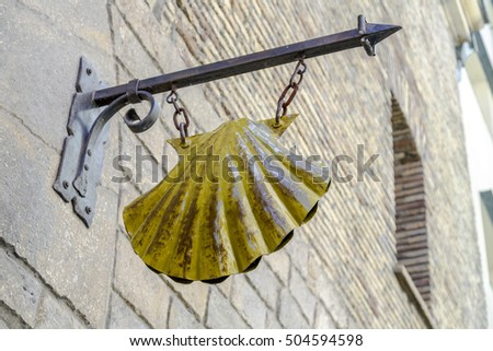 Pamplona, Spain - August 21, 2016: detail of the scallop of pilgrims in the old Episcopal seminary, today and hostel accommodation.