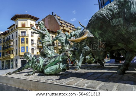 Pamplona, Spain - August 21, 2016: Monument of Encierro Running of the Bulls in historic part of Pamplona, the monument is dedicated to the traditional festival of San Fermin. by Rafael Huerta Celaya