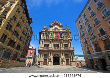 PAMPLONA,SPAIN-JULY 5:City hall of Pamplona in July 6,2014 Pamplona, Spain.from here begins the famous San Fermin - stock photo