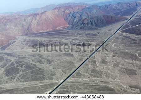 Pan-American Highway and the Nazca Plateau - stock photo