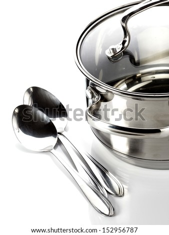 Pan and spoons. Kitchen utensils. Ware.
