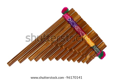 Pan Flute Isolated On White Background - stock photo