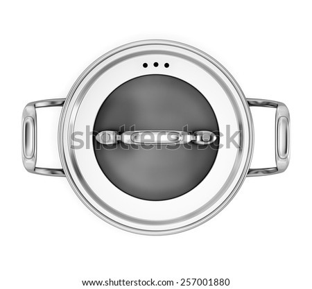 Pan for cooking on a white background the top view isolated on white background. 3d illustration. - stock photo
