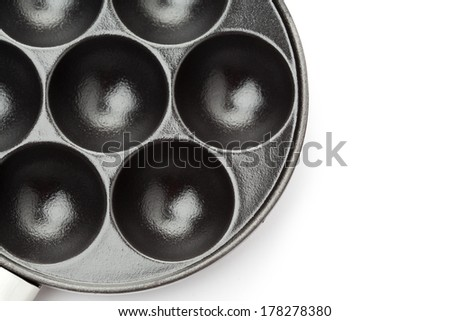 Pan for traditional danish pancakes - ebelskivers, on white