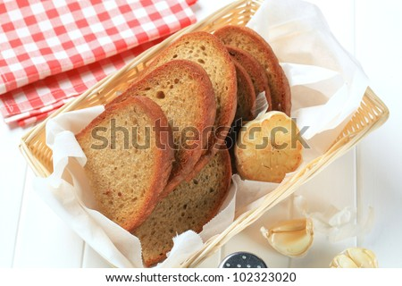 Pan fried bread and garlic