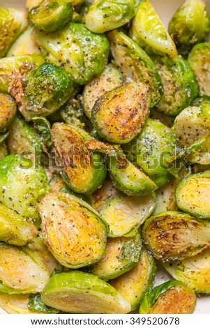 Pan fried Brussel sprouts - stock photo